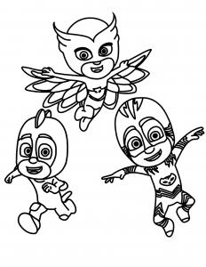3 héros en action : Catboy, Owlette et Gekko