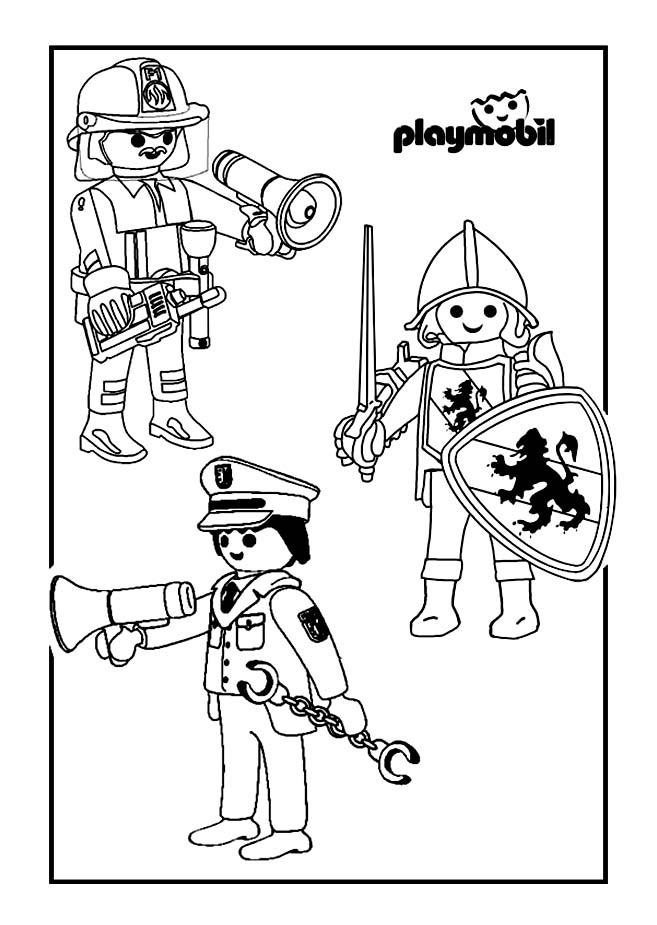 Playmobil chevalier pompier policier coloriage playmobil coloriages pour enfants - Dessin pompier a imprimer ...
