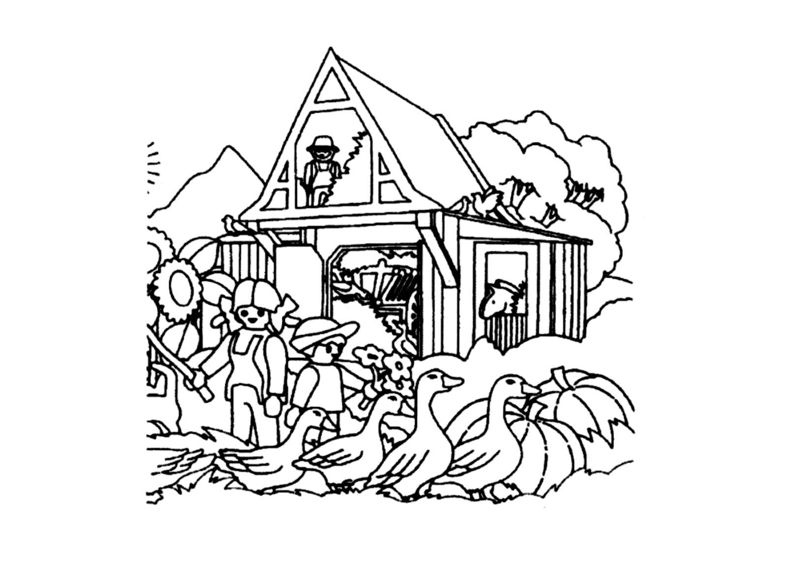 Image d'une ferme Playmobil à imprimer et colorier