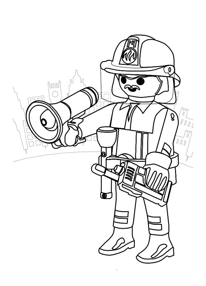 Playmobil pompier casque coloriage playmobil coloriages pour enfants - Dessin a colorier playmobil moto ...