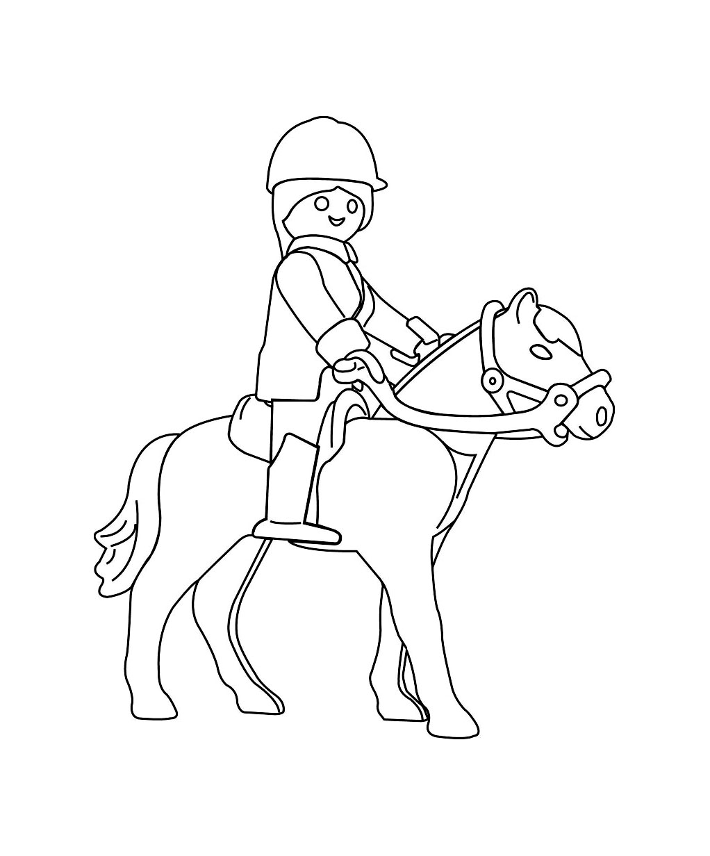 Playmobil sur un cheval coloriage playmobil coloriages pour enfants - Dessin a colorier playmobil moto ...
