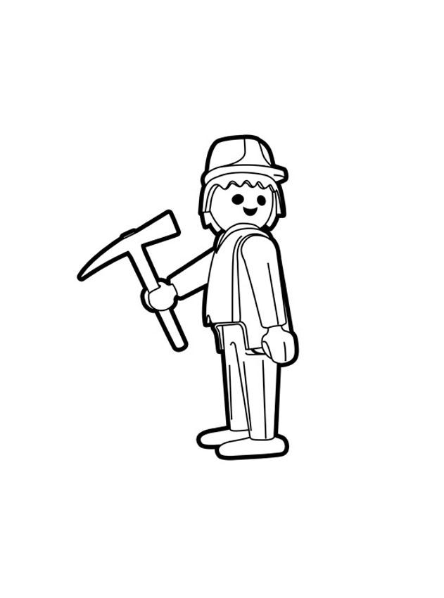 Ouvrier Playmobil avec sa pioche