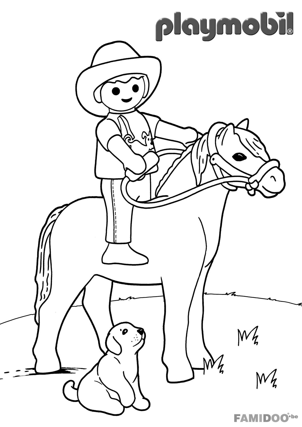 Coloriage playmobil cowboy - Coloriages de personnages TV