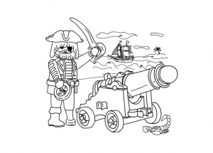 Coloriage playmobil pirate canon