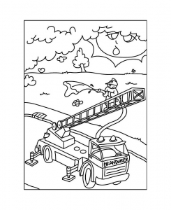 coloriage-playmobil-pompiers-grande-echelle free to print