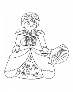 Coloriage playmobil princesse evantail
