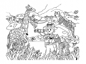 Coloriage playmobil savane animaux