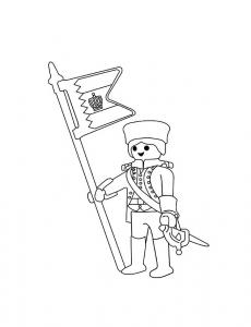 Coloriage playmobil soldat drapeaux