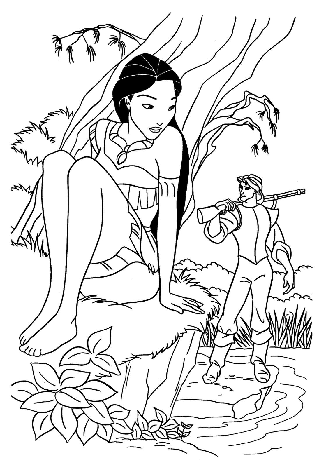 Coloriage de Pocahontas à imprimer - Coloriage Pocahontas ...