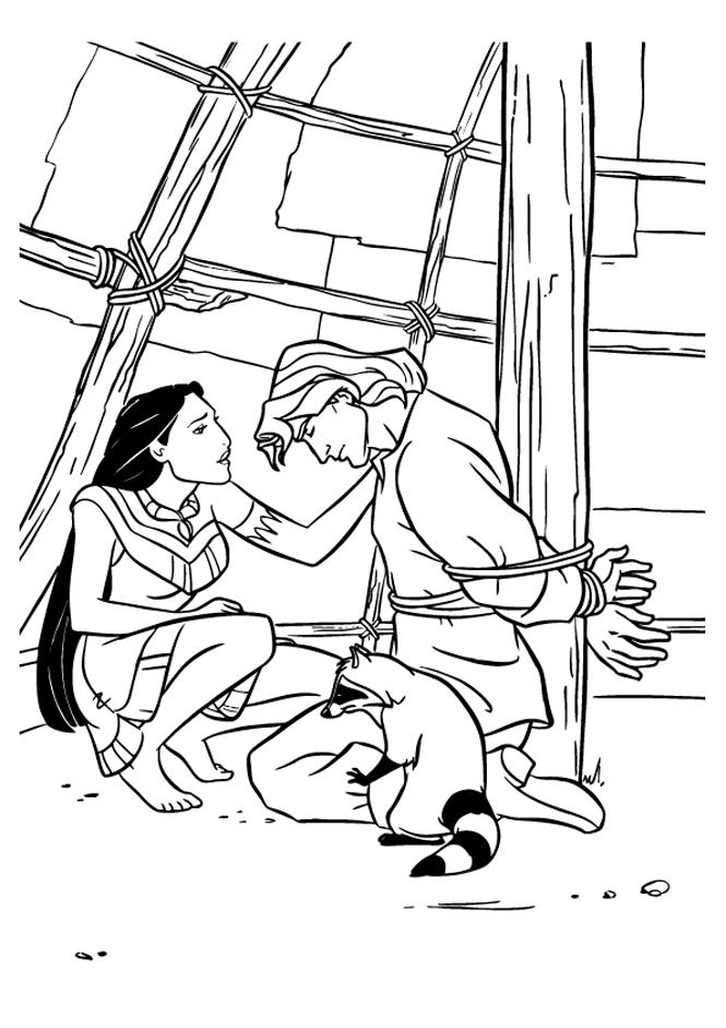 Coloriage de Pocahontas facile pour enfants