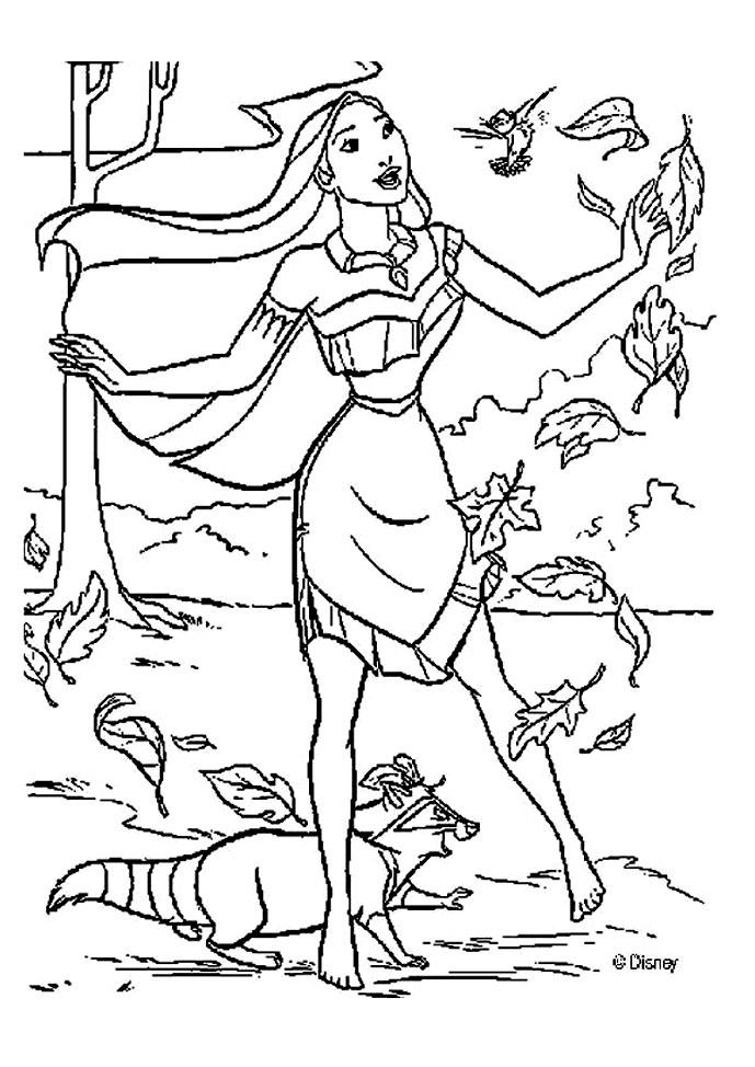 Magnifique coloriage de Pocahontas