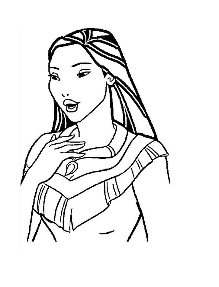 Simple coloriage de Pocahontas pour enfants