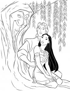 Coloriage de Pocahontas pour enfants