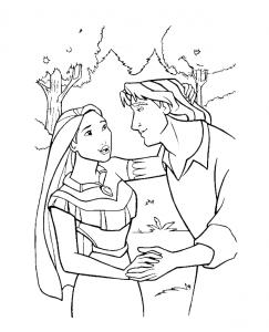 Coloriage de Pocahontas à colorier pour enfants