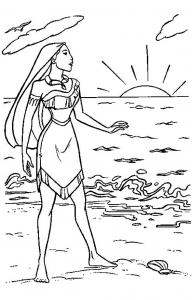 Coloriage de Pocahontas gratuit à colorier