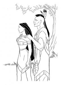 Coloriage de Pocahontas à telecharger gratuitement