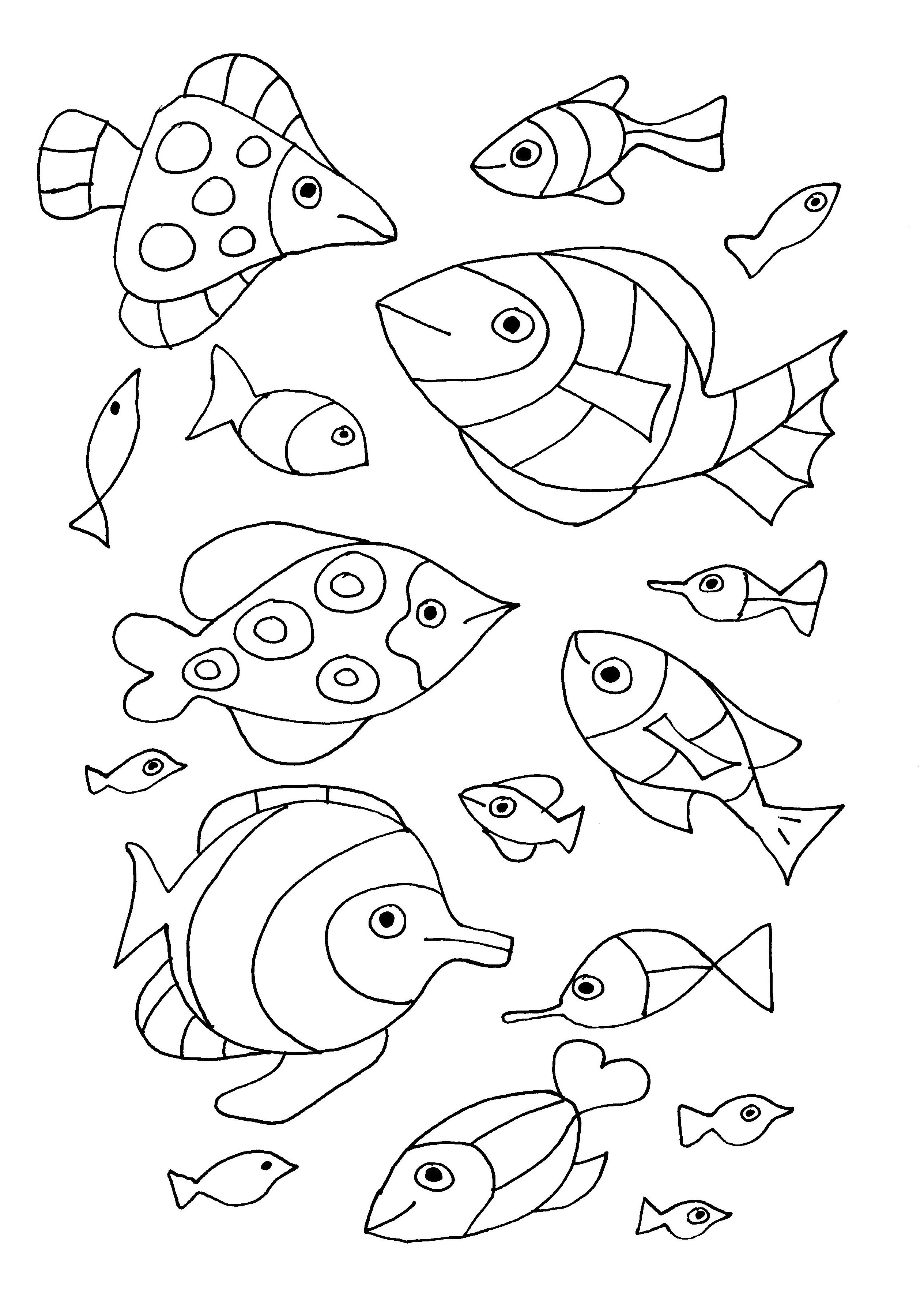 coloriage gratuit poissons free to print
