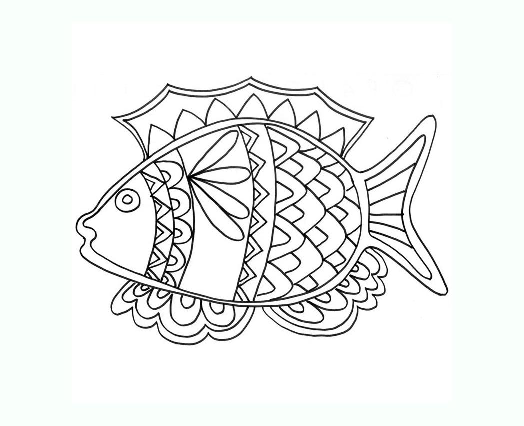 Poisson 1 coloriage de poissons coloriages pour enfants - Poisson coloriage ...