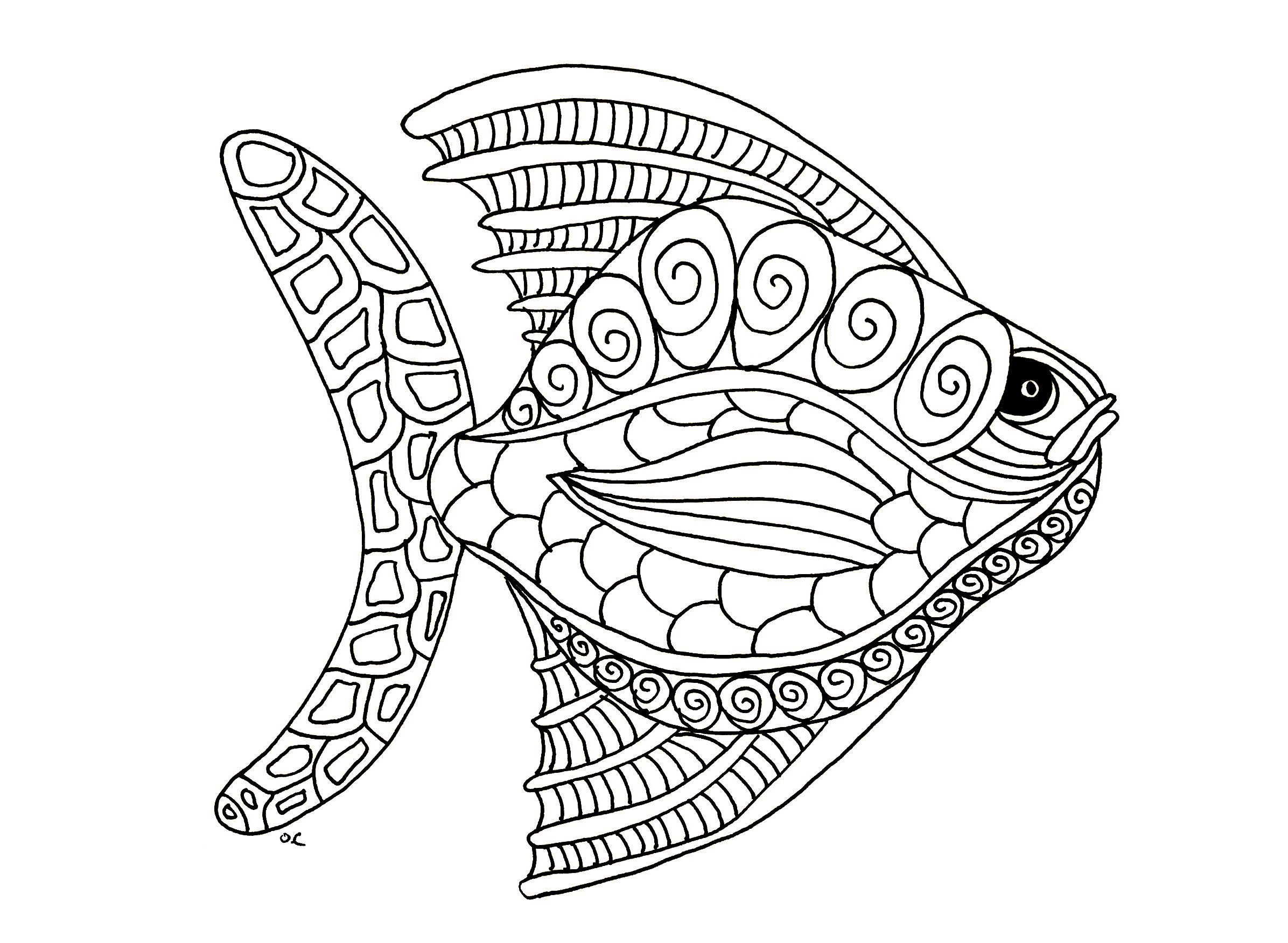 Poisson style zentangle version 1 coloriage de poissons - Dessin poisson ...