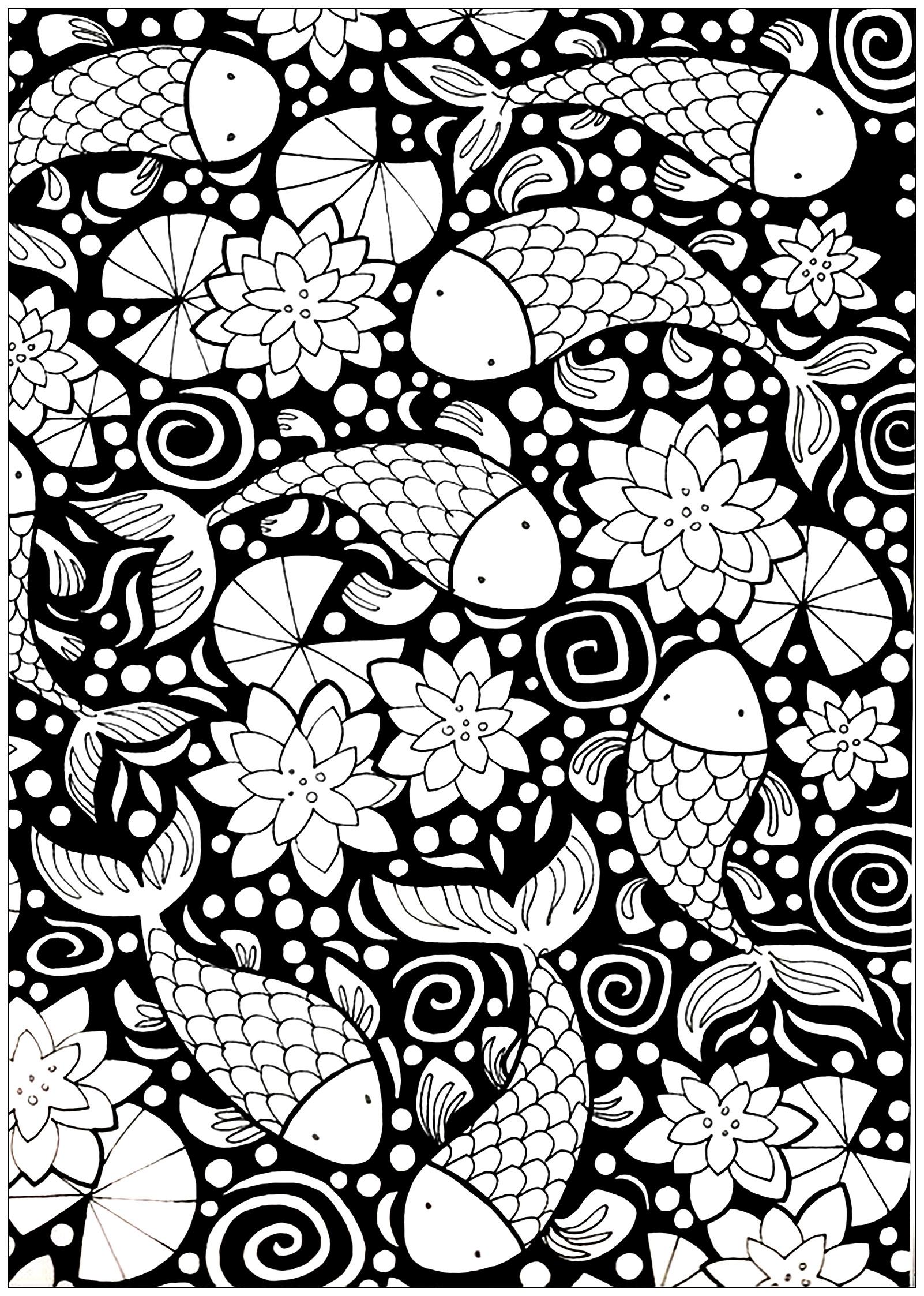 Poissons sur un fond noir coloriage de poissons - Dessin fond noir ...