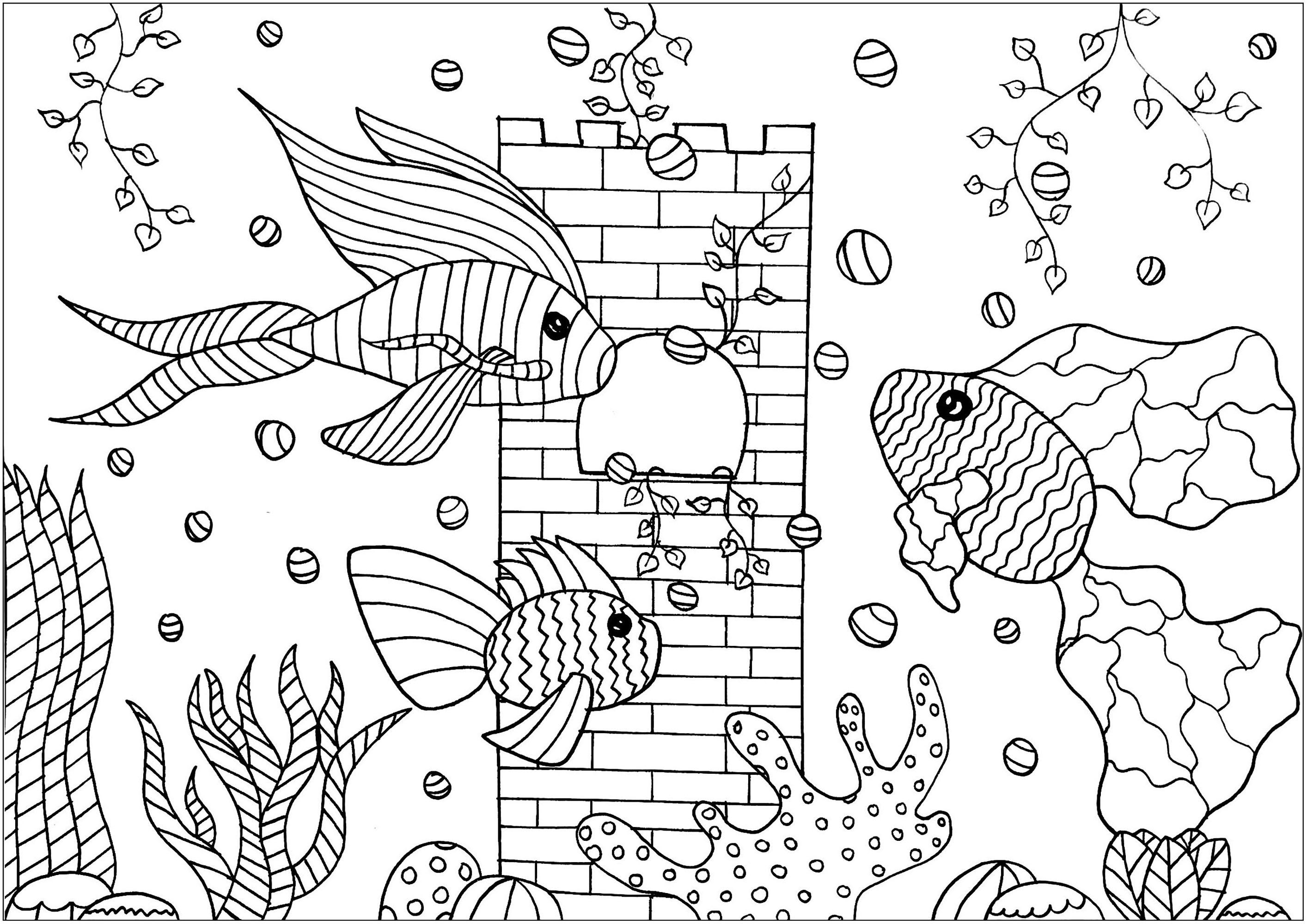 Coloriage de poissons à colorier pour enfants   Coloriage de ...