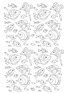 coloriage-nombreux-poissons free to print