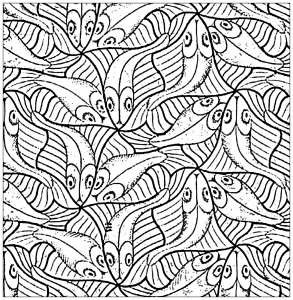 coloriage-poissons-carre-d-apres-m-c-escher free to print