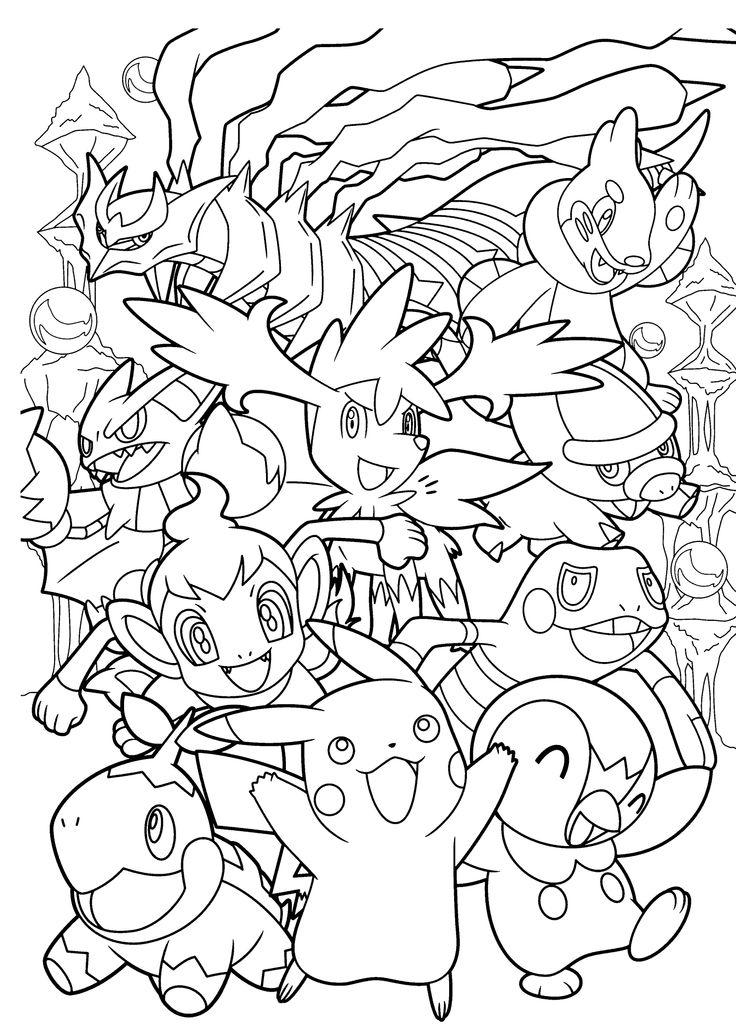 Coloriage complexe inspiré des Pokemon