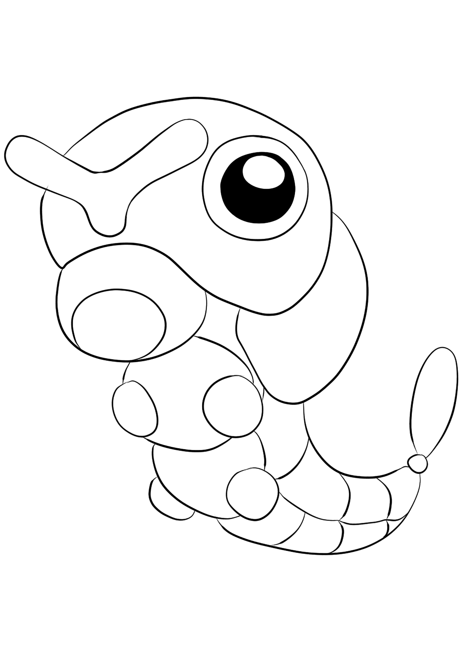 Chenipan (No.10)Coloriage de Chenipan (Caterpie), Pokémon de Génération I, de type : InsecteOriginal image credit: Pokemon linearts by Lilly Gerbil'font-size:smaller;color:gray'>Permission: All rights reserved © Pokemon company and Ken Sugimori.