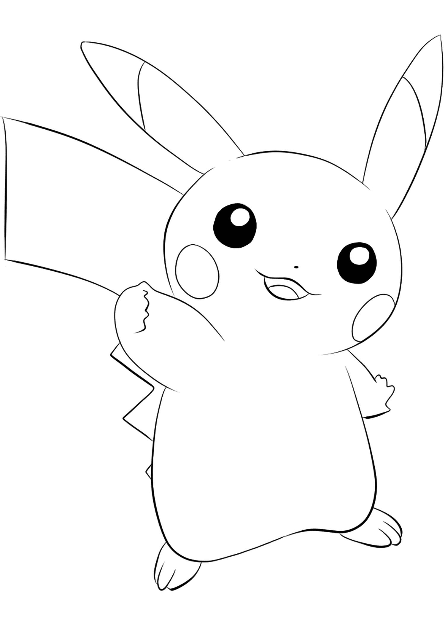 Pikachu (No.25)Coloriage de Pikachu (Pikachu), Pokémon de Génération I, de type : ElectrikPermission: All rights reserved © Pokemon company and Ken Sugimori.
