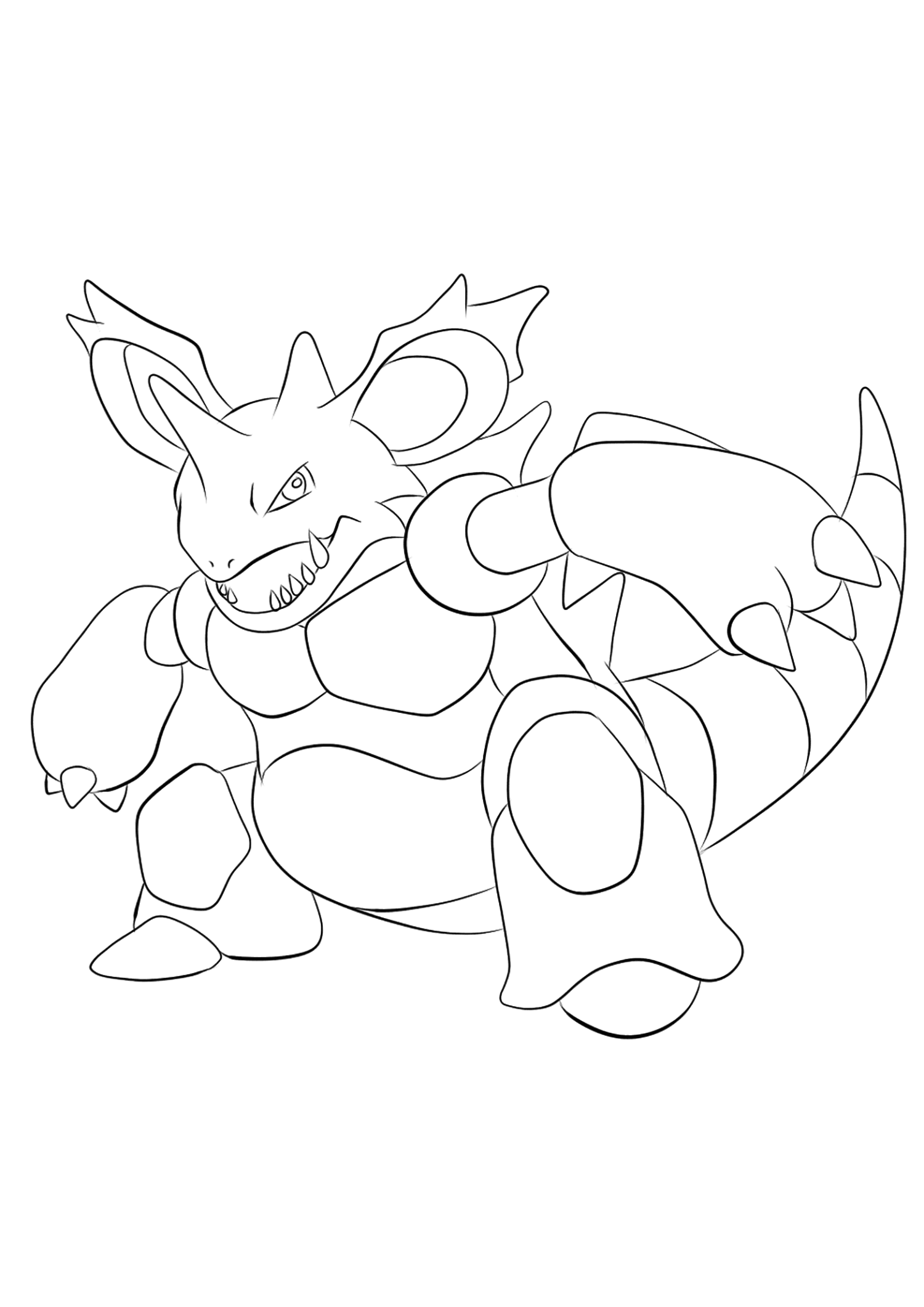 Nidoking (No.34)Coloriage de Nidoking (Nidoking), Pokémon de Génération I, de type : Poison et SolOriginal image credit: Pokemon linearts by Lilly Gerbil'font-size:smaller;color:gray'>Permission: All rights reserved © Pokemon company and Ken Sugimori.