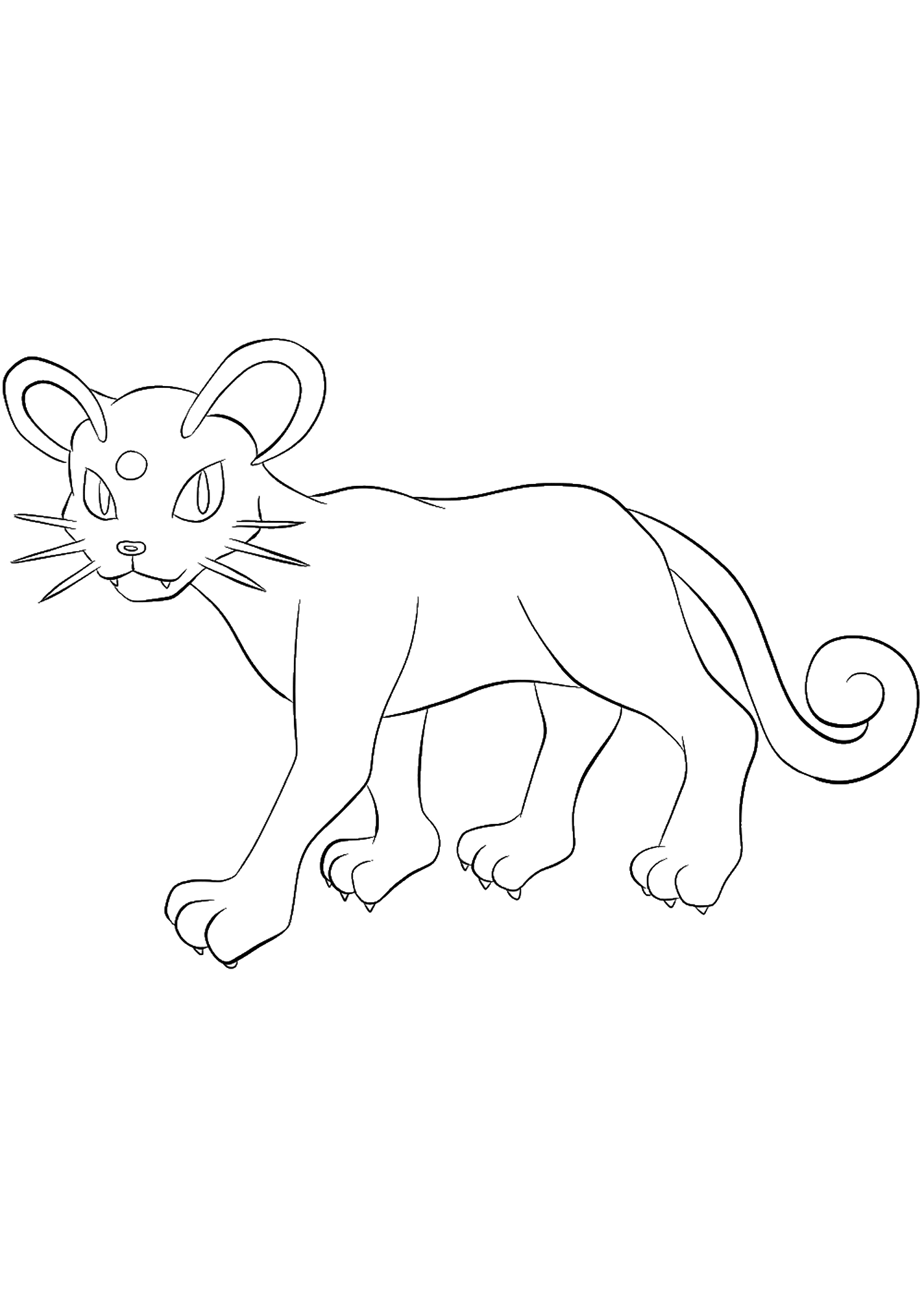 Persian (No.53)Coloriage de Persian (Persian), Pokémon de Génération I, de type : TénèbresOriginal image credit: Pokemon linearts by Lilly Gerbil on Deviantart.Permission:  All rights reserved © Pokemon company and Ken Sugimori.