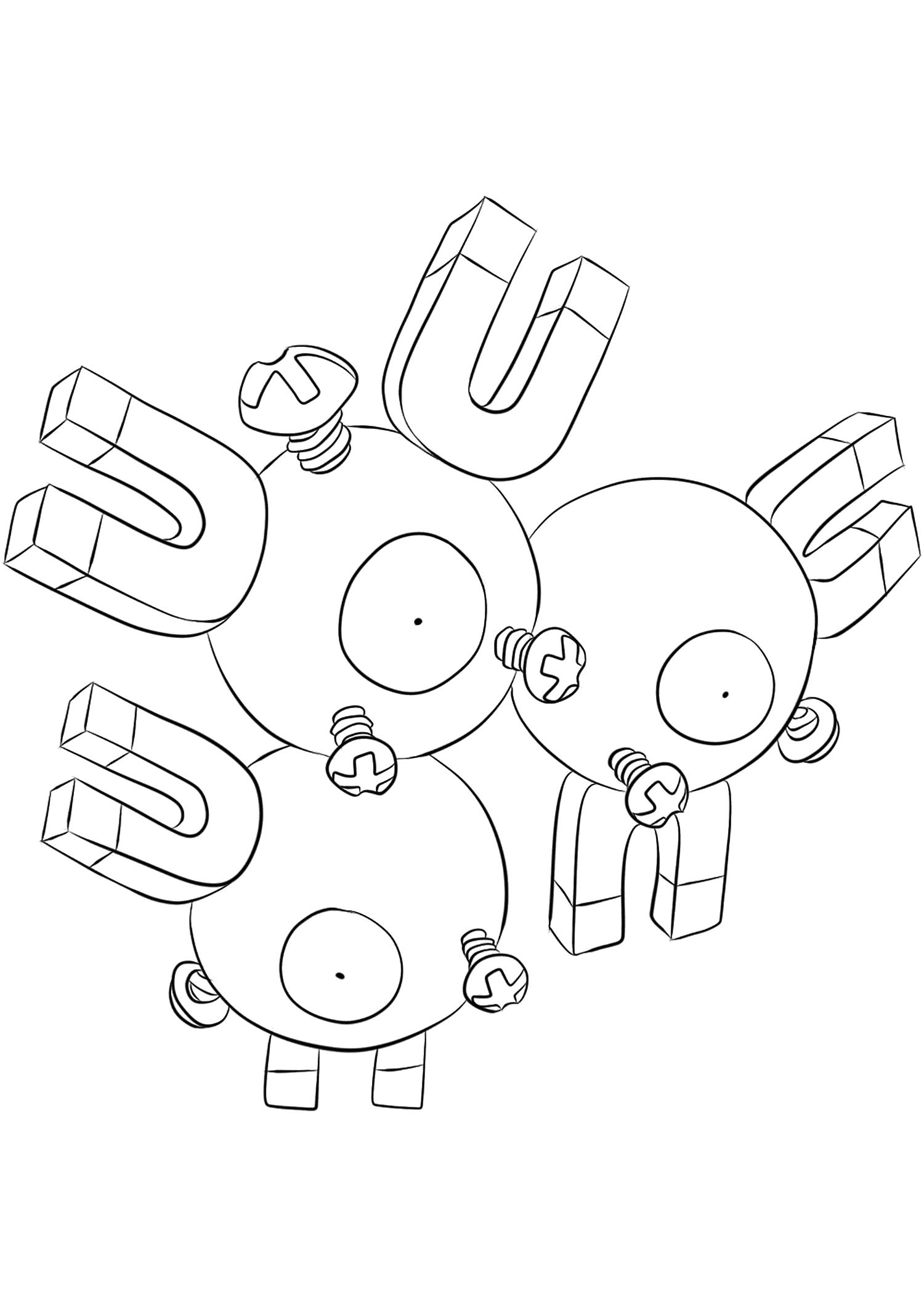 Magnéton (No.82)Coloriage de Magnéton (Magneton), Pokémon de Génération I, de type : Electrik et AcierOriginal image credit: Pokemon linearts by Lilly Gerbil on Deviantart.Permission:  All rights reserved © Pokemon company and Ken Sugimori.