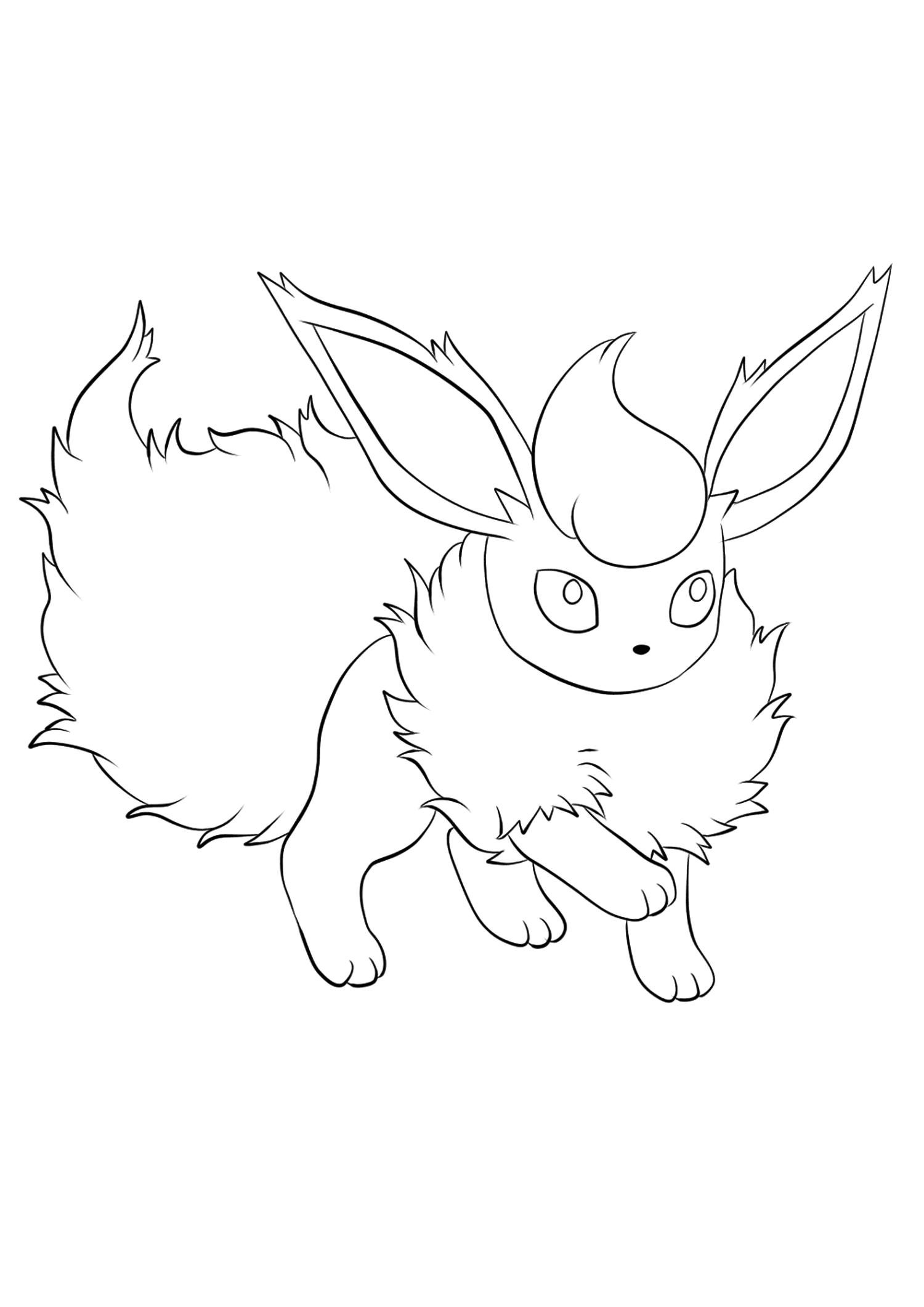 Pyroli (No.136)Coloriage de Pyroli (Flareon), Pokémon de Génération I, de type : FeuOriginal image credit: Pokemon linearts by Lilly Gerbil on Deviantart.Permission:  All rights reserved © Pokemon company and Ken Sugimori.