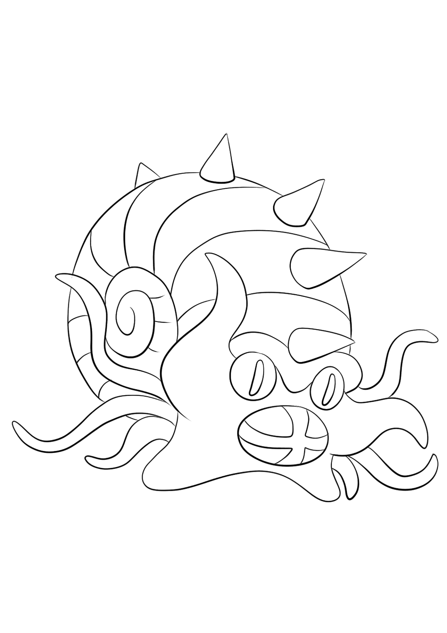 Amonistar (No.139)Coloriage de Amonistar (Omastar), Pokémon de Génération I, de type : Roche et EauOriginal image credit: Pokemon linearts by Lilly Gerbil on Deviantart.Permission:  All rights reserved © Pokemon company and Ken Sugimori.