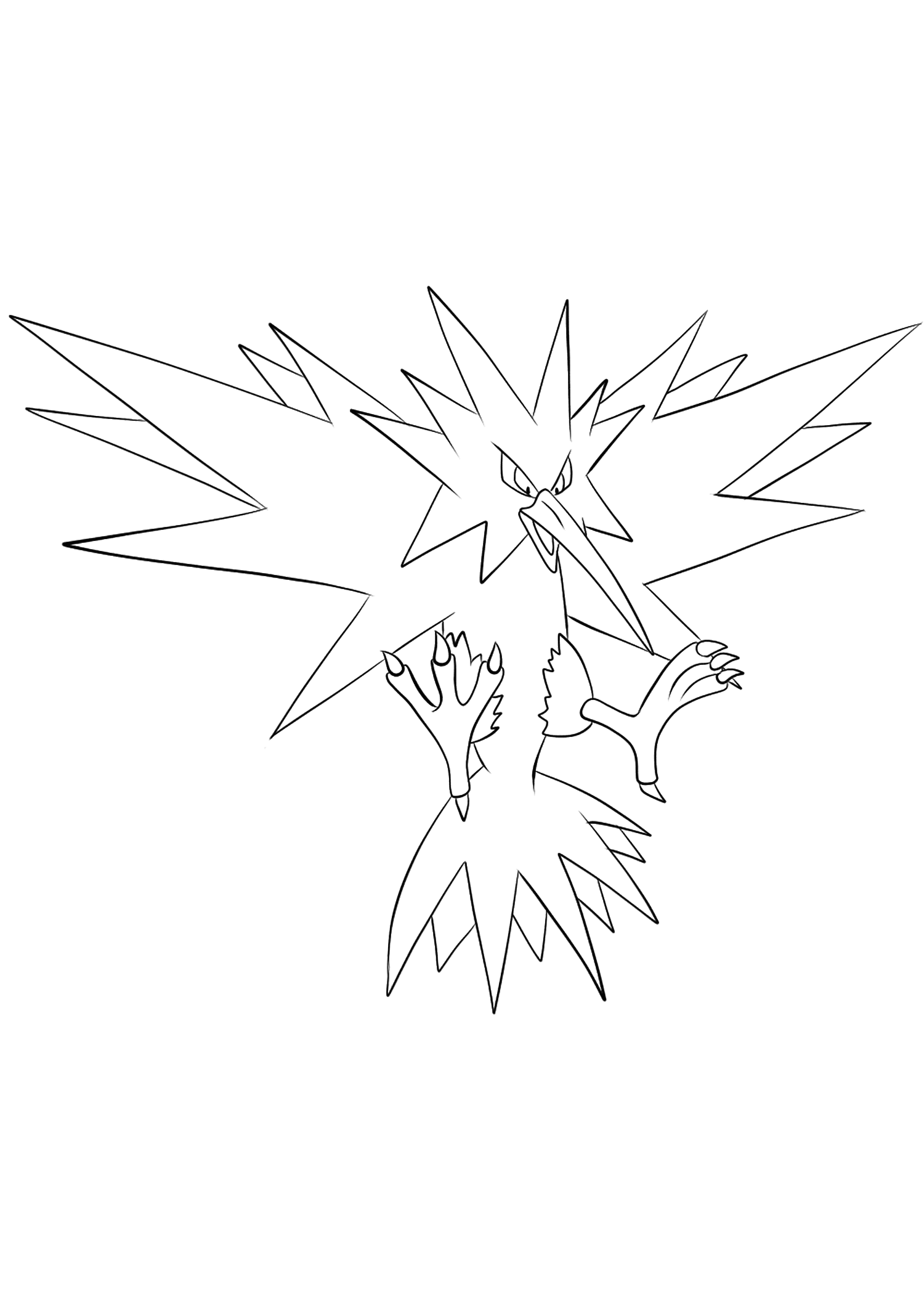 Électhor (No.145)Coloriage de Électhor (Zapdos), Pokémon de Génération I, de type : Electrik et VolOriginal image credit: Pokemon linearts by Lilly Gerbil on Deviantart.Permission:  All rights reserved © Pokemon company and Ken Sugimori.
