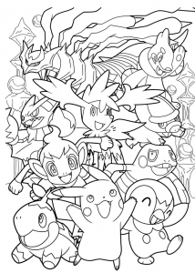 Coloriage complexe pokemon