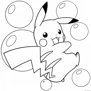 Coloriage pokemon pikachu tombe