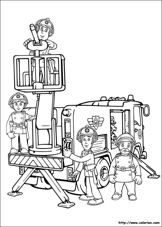 Un coloriage avec plusieurs pompiers