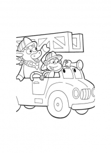 coloriage-babouche-et-totor-sont-pompiers free to print
