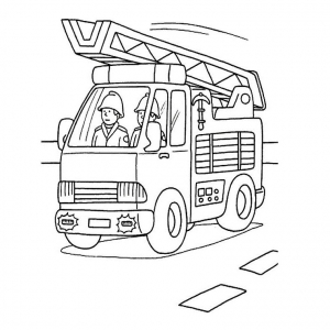 coloriage-camion-pompier free to print