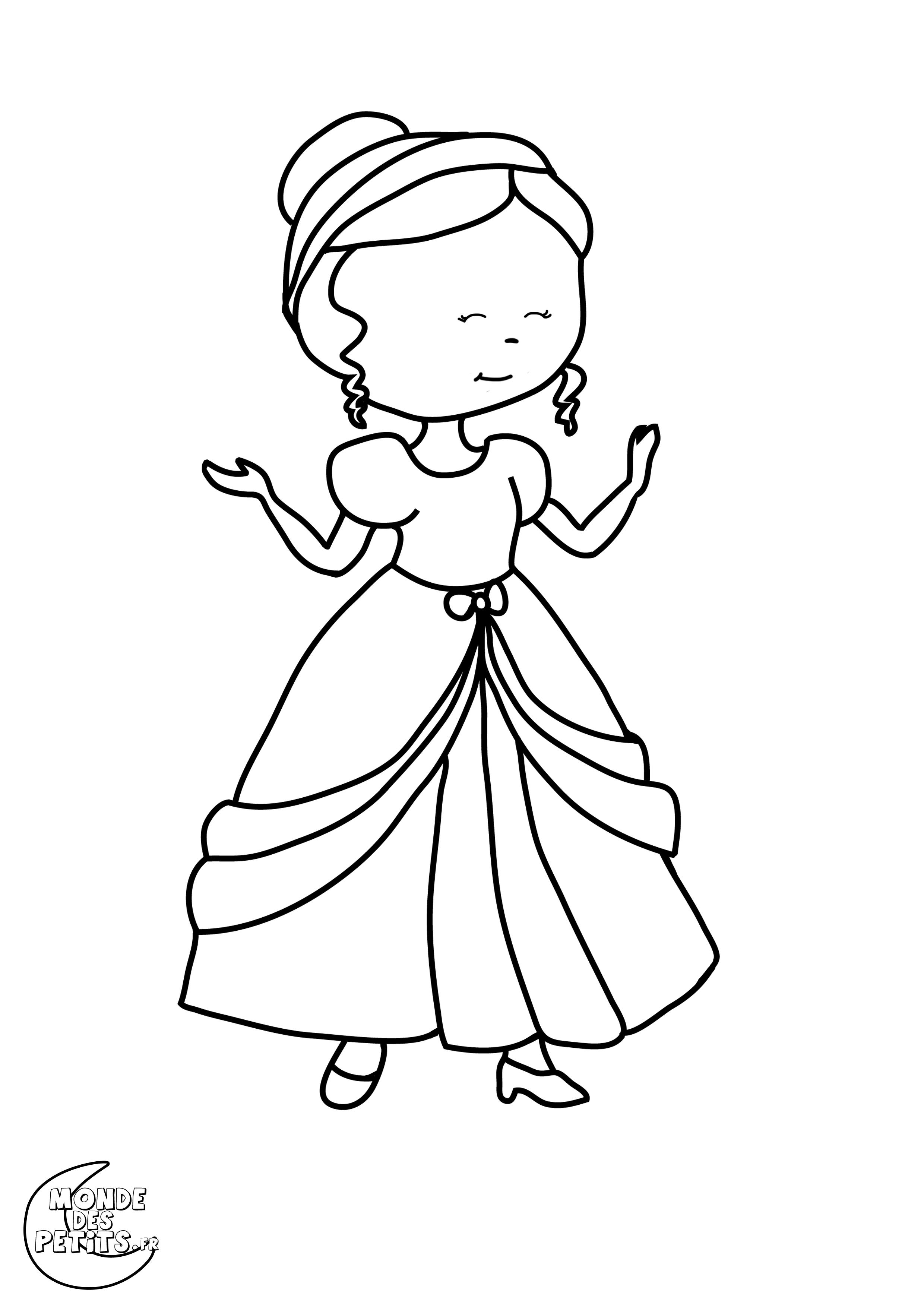 Princesse 5 coloriage princesses coloriages pour enfants - Coloriage colorier ...