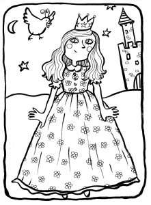 Coloriage princesse 3