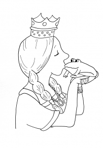 coloriage-princesse-bisou-grenouille free to print