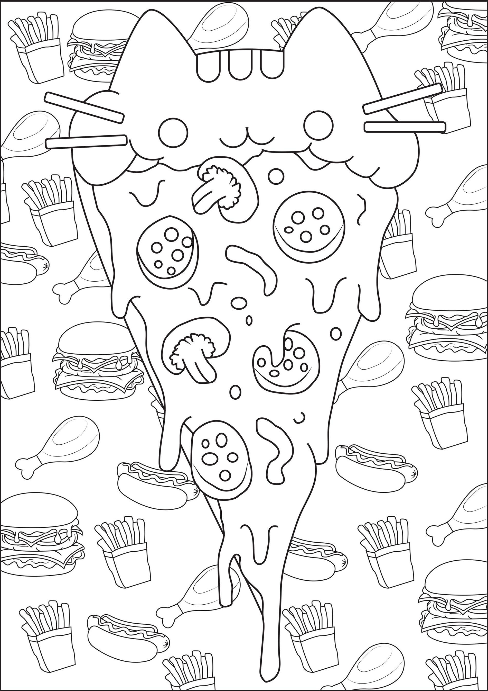 Pizza Pusheen Coloriage Pusheen Coloriages pour enfants