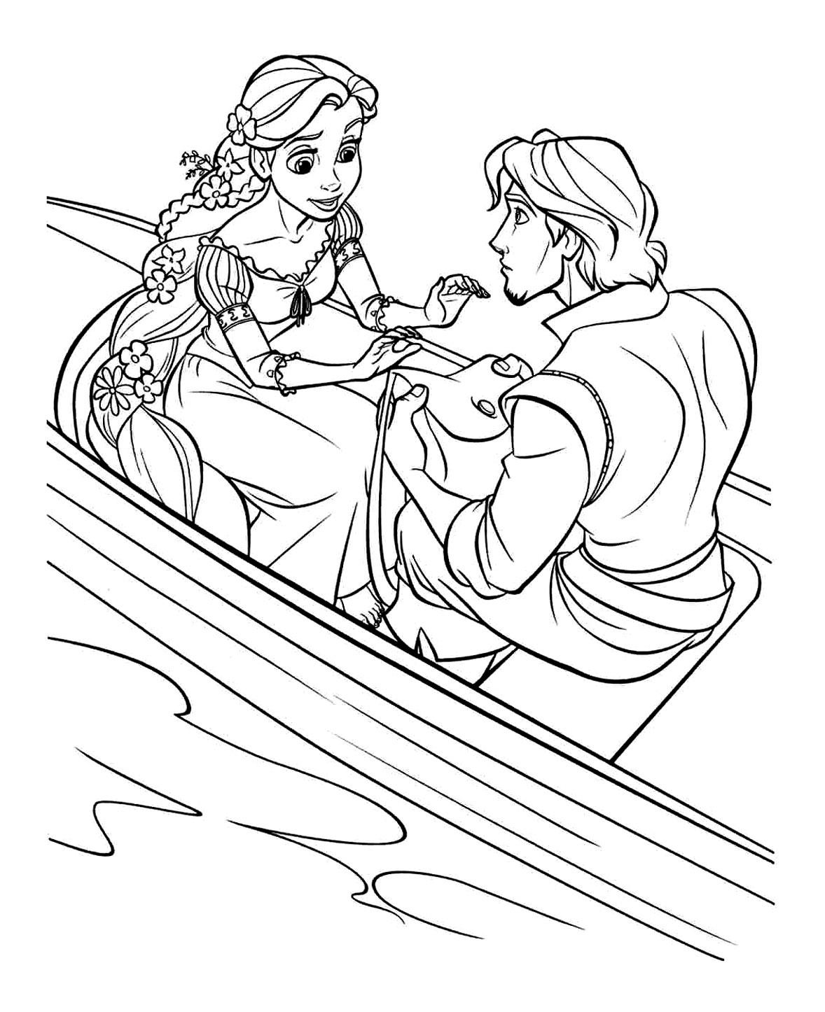 Raiponce flynn bateau coloriage raiponce coloriages - Dessin a imprimer raiponce ...