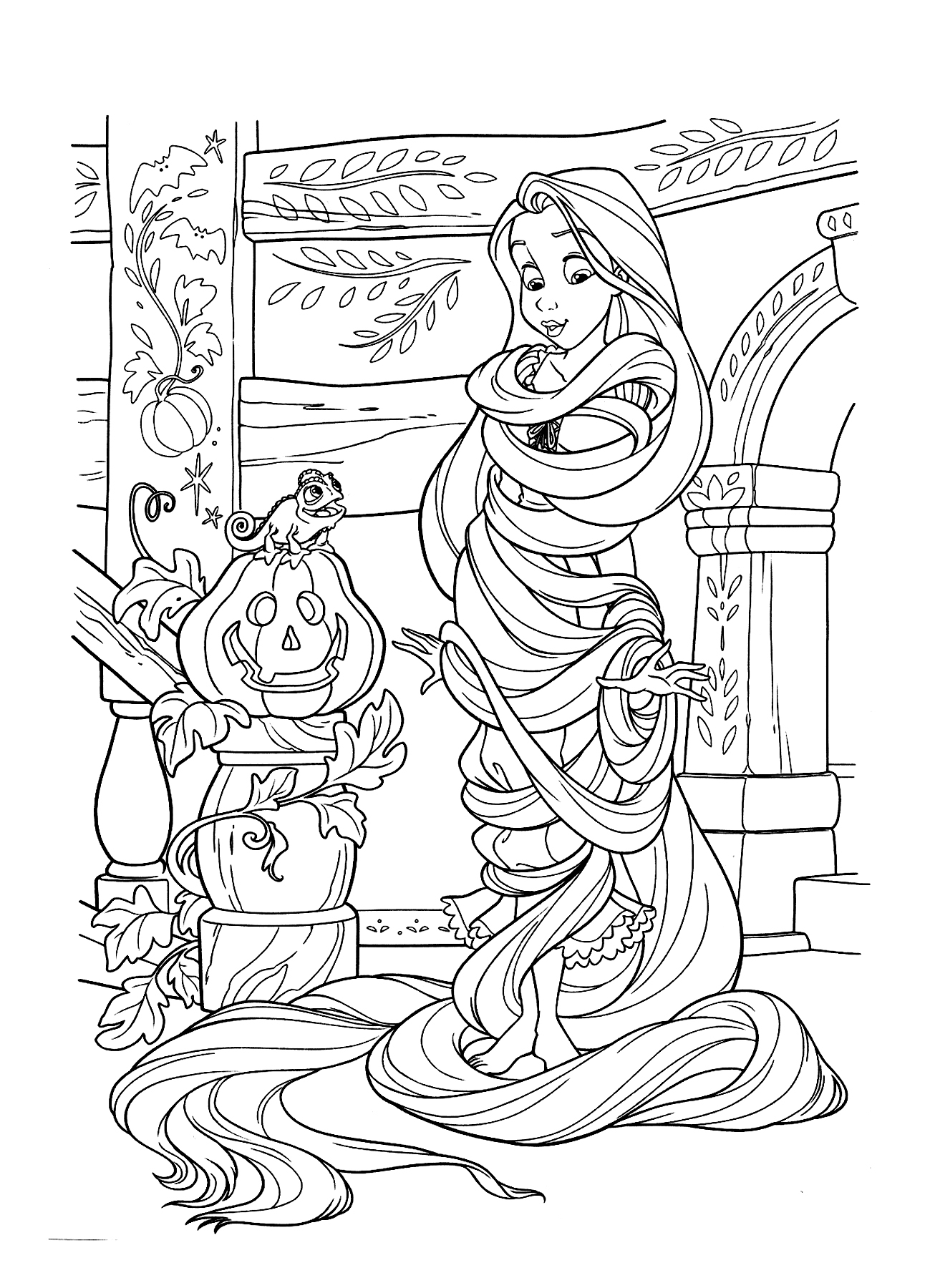 Raiponce halloween coloriage raiponce coloriages pour - Coloriage simpson halloween ...
