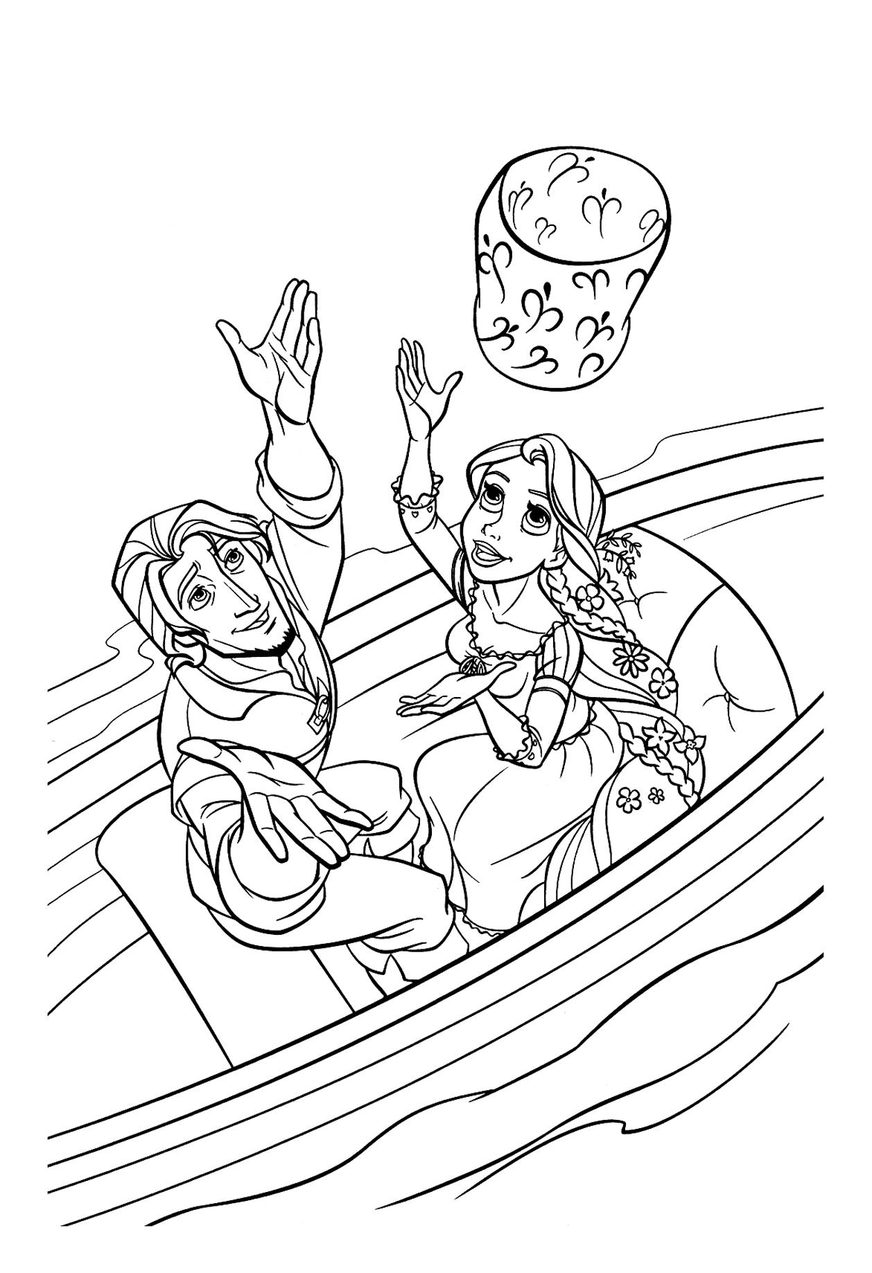 Raiponce lanterne bateau - Coloriage Raiponce - Coloriages pour enfants