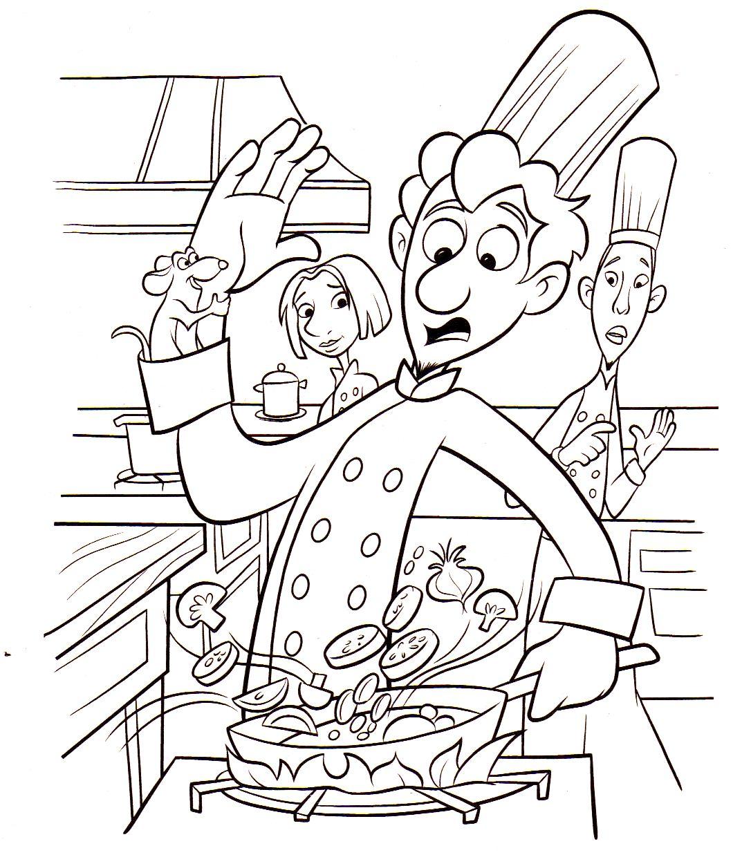 Linguini et la cuisine ça fait deux ! en tout cas avant l'arrivée de Rémy