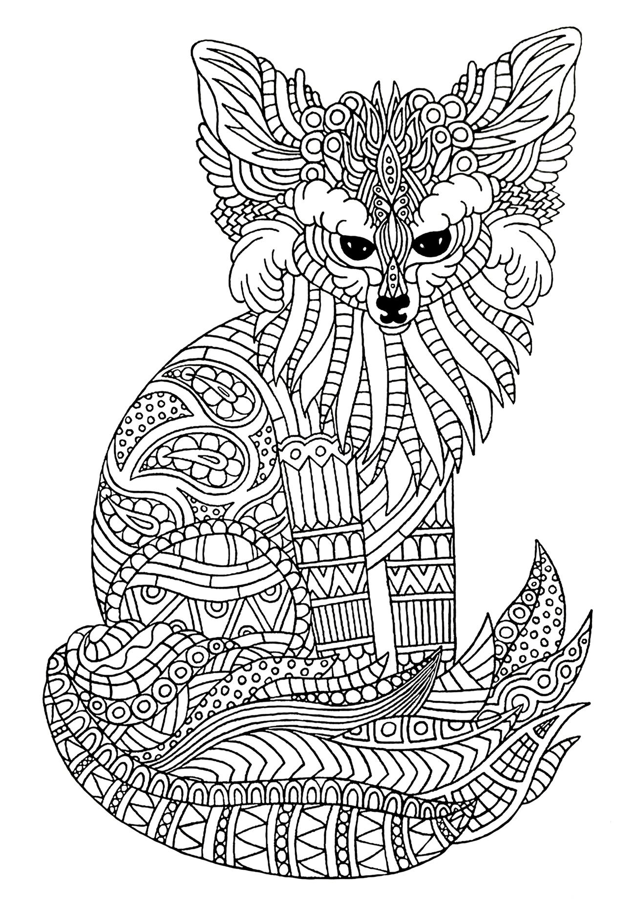 Joli fennec (renard des sables) à colorier, avec motifs complexes
